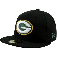 NFL Green Bay Packers Black and Team Color 59Fifty Fitted Cap, Black/Black, 7 1/4 by New Era. $14.29. Show Your Team Spirit with This National Football League 59Fifty Fitted Cap. Features An Embroidered (Raised) Team Logo At Front, A Stitched New Era Flag At Wearer'S Left Side. Interior Includes Branded Taping and A Moisture Absorbing Sweatband. Fitted, Closed Back.