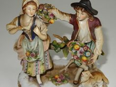 ANTIQUE CAPODIMONTE NAPLES ITALIAN PORCELAIN FIGURINE FRUIT AND FLOWER SELLERS -- Antique Price Guide Details Page