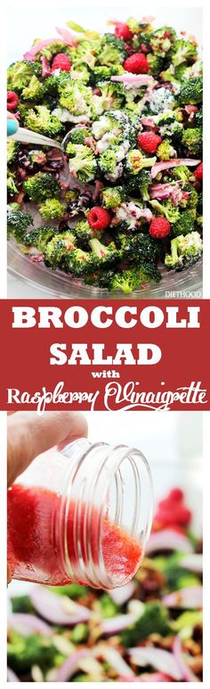 Crunchy Broccoli Salad with Raspberry Vinaigrette - Simple, healthy, easy to make Broccoli Salad with nuts, fruits and bacon! The delicious homemade Raspberry Vinaigrette brings it all together. Get the recipe on diethood.com