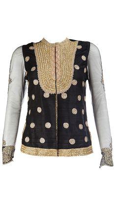 Ritu Kumar Black Jacket with sheer sleeves and gold embroidery Indian Dresses, Indian Outfits, Indian Clothes, Indian Look, Indian Style, Indian Bridal Wear, Bridal Mehndi, Ritu Kumar, Indian Designer Suits
