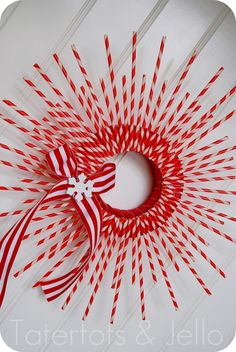 stripey straw wreath close up