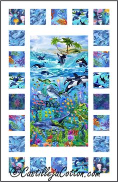 Sea Life Windows Quilt Pattern CJC-51151 Easy to make using a panel and simple pieced borders.
