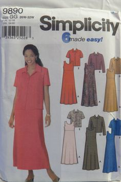 Simplicity 9890 Women's Jacket and Pullover A-Line Dress or Jumper