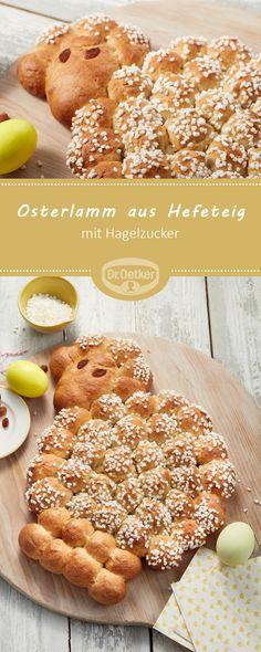 Osterlamm aus Hefeteig - Süße Hefeteig-Kugeln mit Hagelzucker für den Osterbrunch #rezept #ostern #hefe