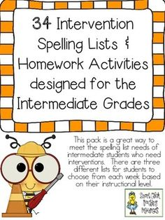 34 Intervention Spelling Lists & Activities Designed for Intermediate Grade Students   $