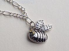 Busy Bee-Swarovski Charm Bracelet FREE SHIPPING on Etsy, $15.00