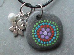 Hand Painted Beach Stone Necklace