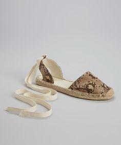 Loving this Beige Snakeskin Espadrille Sandal on #zulily! #zulilyfinds