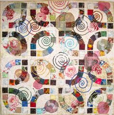 double wedding ring quilt | Quilt Inspiration: Double Wedding Rings part 4: Collaged quilts !
