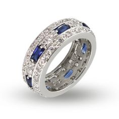 Sterling Silver CZ Anniversary Band with Baguette Sapphire CZs Eve's Addiction. $112.00. Metal Finish: rhodium-finished-sterling-silver