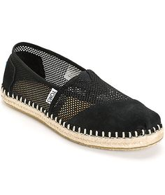 A mixed black mesh and suede upper is finished with jute trim detailing along the bottom for textured look that offers an breezy and ultra comfortable wear.