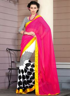 #White And #Pink Half And Half #Saree