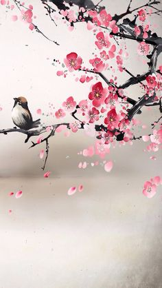 Painting (?) of bird and cherry blossoms - reminiscent of Asian style