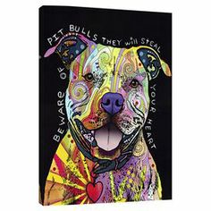 An eye-catching addition to your living room or master suite, this vibrant street art-inspired canvas print showcases a pit bull in a bold palette.   Product: Wall artConstruction Material: Cotton canvas and pine woodFeatures:  Made in the USAReady to hang