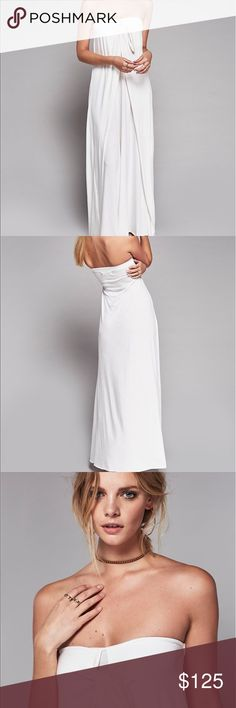 Free People Bianca Maxi Tie Dress Gorgeous white tie at the top long and sexy dress look gorgeous on a must have dress Free People Dresses Maxi