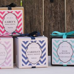 12 Chevron Design Personalized Favor Boxes - ANY COLOR - wedding favors, party favors, baby shower favors, bridal shower favors. $18.00, via Etsy.