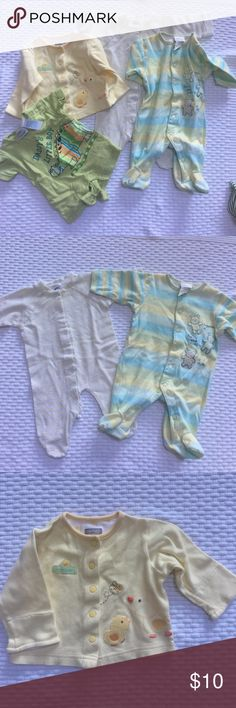 """0-3 month lot 4 items, all in excellent condition.  Carters snap-up blue, yellow and green striped footie sleeper with teddy bears 0-3months 11lbs.  Gerber striped snap up footie sleeper 0-3 months 12lbs. Carters snap up shirt with little chicks and a bee on the front 3 months 8-11lbs. Miniwear one piece in green with a dragon """"Daddy's little boy"""" preemie size Other"""