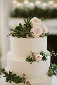 Rose and succulent detailed cake: http://www.stylemepretty.com/alabama-weddings/leeds/2015/05/01/rustic-elegant-alabama-wedding/ | Photography: Jonas Seaman - http://jonas-seaman.com/