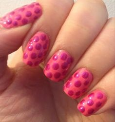 Breast Cancer Awareness Nail Art Pink Polka Dots