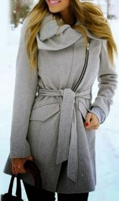 Cozy Shades of Grey! Silver Grey Ombre Turn-Down Collar Long Sleeve Zip Up Spliced Belted Coat