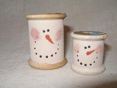 vintage wooden spool snowmen - could be ornaments for the tree by thesunparlor