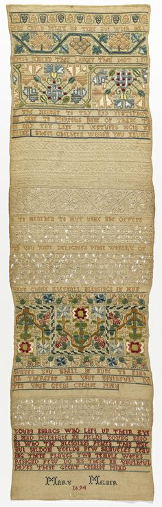 Mary Milner, 1694.  These types of band samplers were often stitched with the easier techniques at the top, and the stitching would get more complicated as the sampler maker learned.  This meant that airy cutwork ended up at the bottom, leading to top-heavy samplers.  This one spreads the cutwork throughout, and it makes for a very pleasing composition.