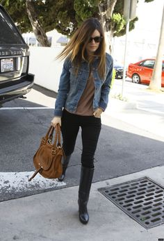 Would throw on a scarf for a pop of color. Boots add glam to such a simple outfit.