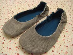 Tree Peeps: Sewn Slippers  http://makinganddoing.blogspot.fr/2011/01/sewn-slippers.html