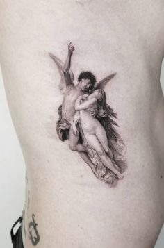 Cupid and Psyche tattoo © tattoo artist Zlata Kolomoyskaya ❤❤❤❤❤❤ If you're looking for elegant and discreet ink but with incredible levels of detail built in, you should definitely check these fine line tattoos by Zlata Kolomoyskaya for inspiration. Tattoo Drawings, Body Art Tattoos, Tribal Tattoos, Small Tattoos, Sleeve Tattoos, Cool Tattoos, Tatoos, Cupid Tattoo, Cherub Tattoo
