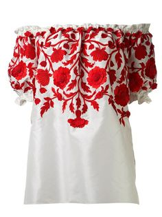 Naeem Khan Embroidered Peasant Blouse