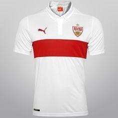 Camisa Puma Stuttgart Home 14/15 s/n° - s/ Patrocínio - Branco+Vermelho