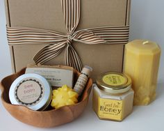 life is sweet gift set - handmade soap, beeswax candles, lip balm, solid lotion bar, creamed honey - Mothers Day, birthday, teacher gift. $32.50, via Etsy.