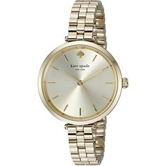 Crisp color and playful sophistication are the hallmarks of Kate Spade, a brand that encourages personal style with a dash of radiant charm. This women's watch from the Holland collection features a gold-tone stainless steel bracelet and gold-tone dial.