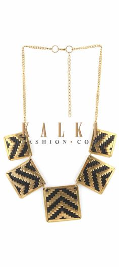 Buy Online from the link below. We ship worldwide (Free Shipping over US$100) Price-$29 Click Anywhere to Tag http://www.kalkifashion.com/gold-and-black-necklace-featuring-in-pendent-only-on-kalki.html