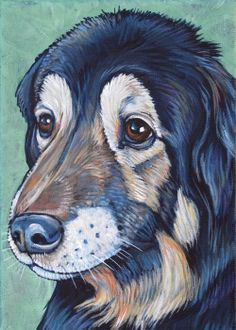Zuggie the German Shepard and Flat Coated Retriever Mixed Breed Dog Custom Pet Portrait