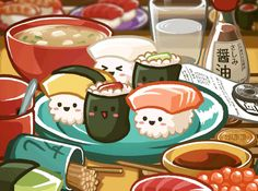 cute anime food japan kawaii cartoon manga comic animation fish ...