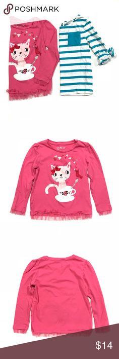 Baby Gap striped tee & pink kitty long sleeve tee •Baby Gap blue and white striped 3/4 length tee, key hole & button closure on back, & pink long sleeve kitty tee with tulle around the bottom of the sleeves, & shirt  •All EUC, pink shirt does have a small pen dot on the left front sleeve •Size 4 // 4T  •I am a: Posh Ambassador, top 10% seller, top rated seller, Posh mentor & ship same day/next day!  ⭐️❤️FREE Matching hair accessory with purchase!❤️⭐️ •Smoke & pet free home GAP Shirts & Tops…