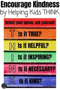 Encourage kindness and remind kids to be kind with this THINK poster that helps them stop and think if what they're saying is kind or unkind. Many kids inadvertently say something unkind...this helps them judge if their words are worth saying. Hang this kindness poster in your home or in your classroom. #poster #kindness #kind #backtoschool #classroomresources #classroomposter #kindnessposter #kindfamily