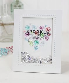 Jeweled shaker card by Dawn Woleslagle for Wplus9 featuring the Sparkle & Shine stamp set.