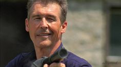 Randy Mantooth's character Dutch tests his fire-eating gun at home.