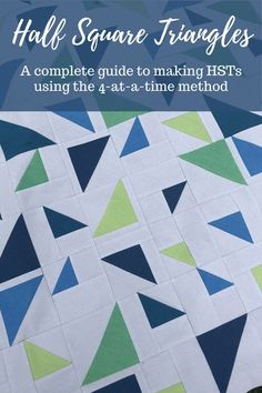 Learn how to make Half Square Triangles, Starts with 2 squares of fabric and end with 4 quilt blocks, beginner friendly quilt blocks, Half Square Triangle, Making HSTs using the 4-at-a-time method, calculate fabric size, modern quilt pattern, video tutorial for quilting, quilting video Triangle Quilt Tutorials, Beginner Quilt Patterns, Baby Quilt Patterns, Modern Quilt Patterns, Quilting For Beginners, Quilting Tips, Quilting Tutorials, Beginner Quilting, Quilt Modern