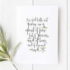2 Timothy 1:7 - For God Hath Not Given Us a Spirit of Fear - Bible Verse Print – Snow And Company