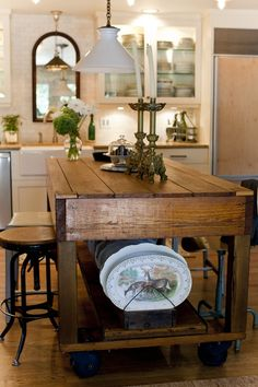 wood industrial island - I have to show Brad this one, possible option for that homemade kitchen table one day