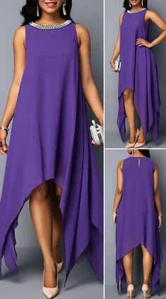 Asymmetric Hem Embellished Neck Chiffon Tunic Dress Source by stylishbeautifulwoman Latest African Fashion Dresses, African Print Fashion, Dress Outfits, Casual Dresses, Fashion Outfits, Fashion Fashion, Latest Fashion, African Wear, African Dress