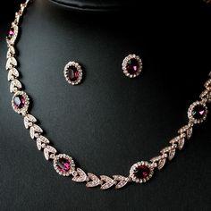 2pcs Fancy Golden Chokers Necklace-Stud Earrings