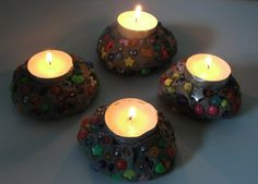 ~ clay candle holders.