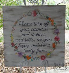 Unplugged wedding sign, featuring Australian watercolour native flowers. wedding photographer  © Design by Blackboard Artworx