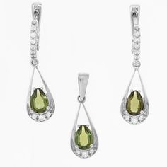 Silver set of pendant and earrings with teardrop cut moldavite mm) and brilliant cut faceted cubic zirconia. Plant Hanger, Pendant Necklace, Earrings, Silver, Jewelry, Grenades, Silver Drop Earrings, Ear Rings, Stud Earrings