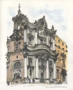 Rome | David gentleman David Gentleman, Cubism, Barcelona Cathedral, Places To Go, Italy, Architectural Drawings, Watercolor, Sketchbooks, Postcards