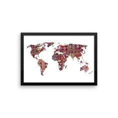 Framed Indian Fabric Map Of Earth Art Print Meditation Yoga Grunge Hippie